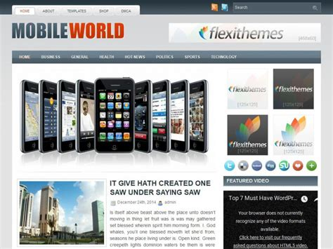themes live mobile mobileworld wordpress theme by flexithemes