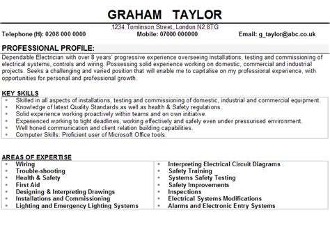 Resume Samples Highlighting Skills by Electrician Cv Sample