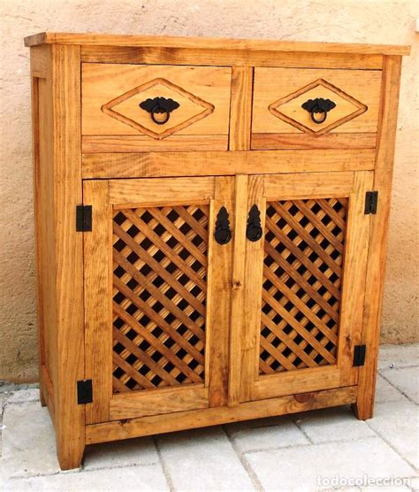 mueble alacena de madera rustico   cajones comprar muebles vintage en todocoleccion