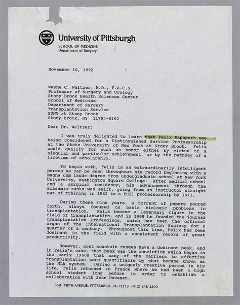Recommendation Letter For A Doc the official dr e starzl web site dr felix t