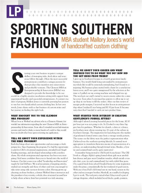 Clemson Mba Statistics by The Exchange Magazine Clemson