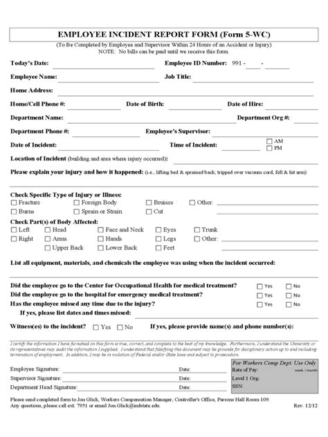 employee incident report sle employee incident report 4 free templates in pdf word