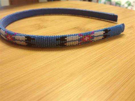 indian beaded headbands american beaded headband light blue