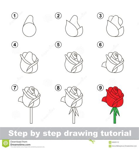 pattern drawing games drawing tutorial how to draw a rose stock vector image
