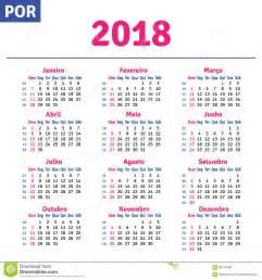 calend 225 brasileiro portugu 234 s 2018 ilustra 231 227 o do vetor