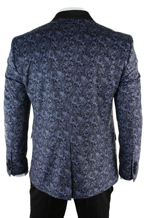 Blue Black Blazer mens slim fit velvet paisley blazer trouser tuxedo dinner suit light blue black ebay