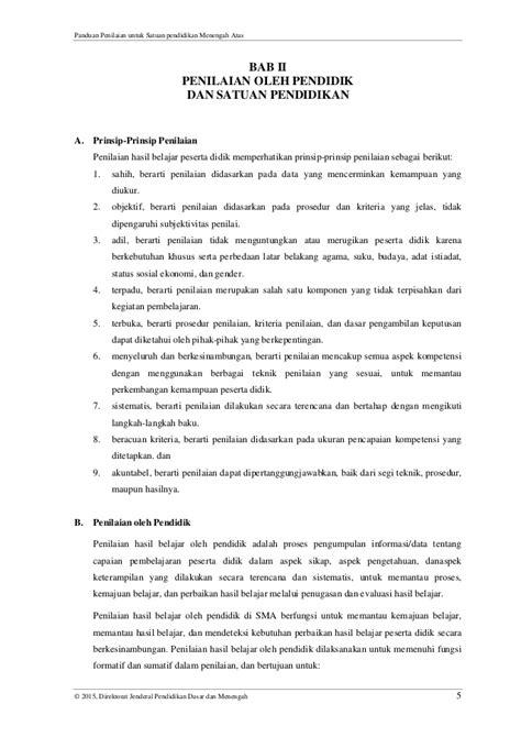 permendikbud no 5 tahun 2015 panduan penilaian untuk sma final sesuai permendikbud no