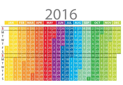C Calendario 2016 Colorful Vertical Calendar 2016 Free Vector