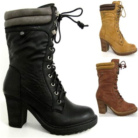 high heeled army boots high heels boots womens mid calf biker combat