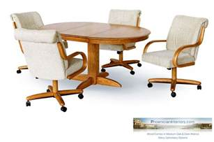Dining Table With Casters 4 Dining Chairs On Casters Rollers And Solid Wood Dining Table Set Many Options Ebay