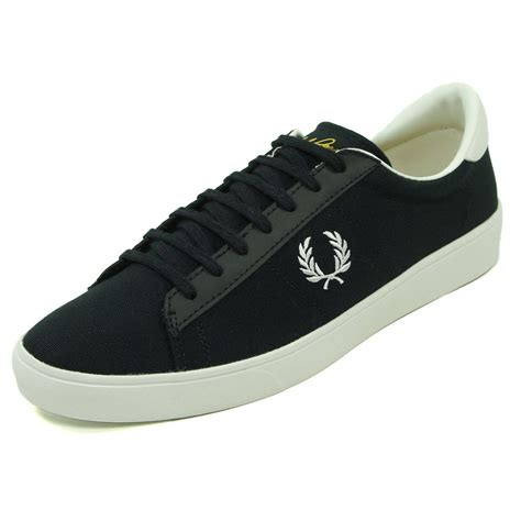fred perry spencer canvas tennis shoe in navy jon barrie