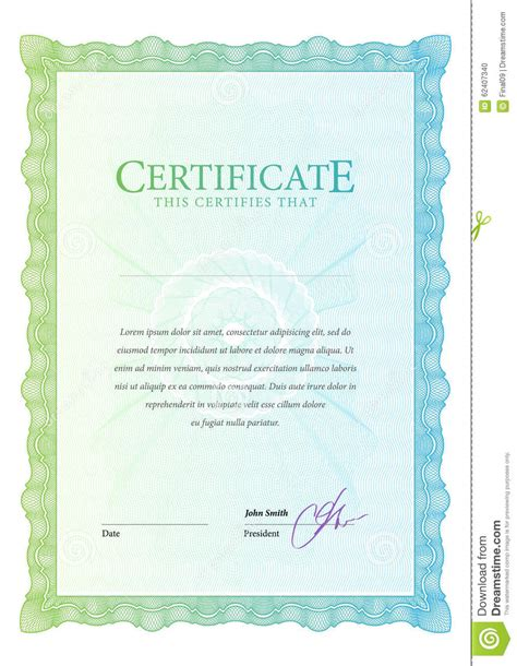 money certificate template certificate template diplomas currency stock vector