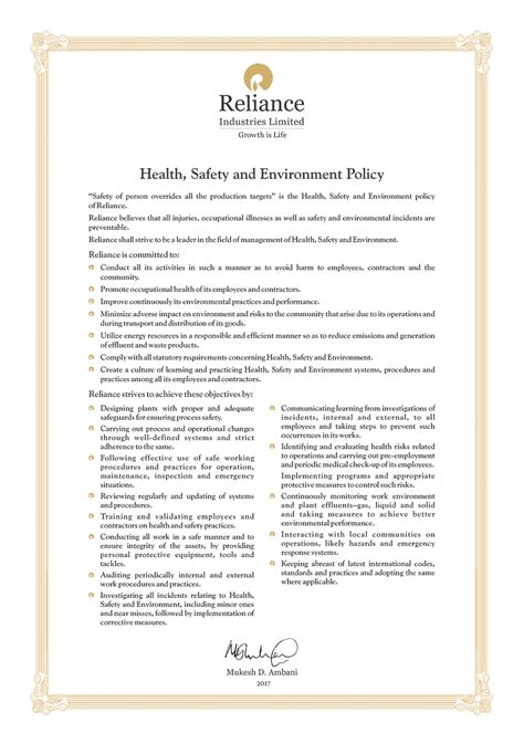 Environmental Report Reliance Letter Health Safety Environment Reliance Industries Limited