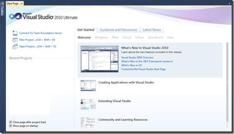 git tutorial visual studio 2010 tips tricks customizing visual studio 2010 start page