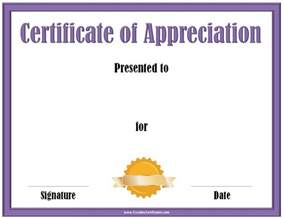 appreciation certificate template certificate of appreciation template