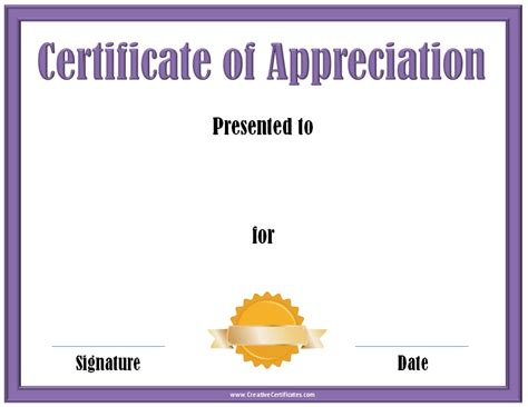 certificates templates free printable certificate of appreciation template