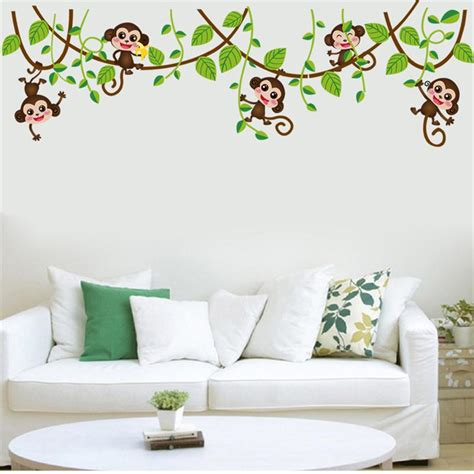 wall stickers for kids bedrooms jungle monkey tree branch wall stickers for kids room home