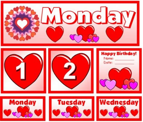 what day does valentines day fall on free printable calendar numbers for classroom free