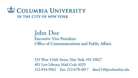 Columbia Gift Card - columbia university web identity guidelines letterhead business cards