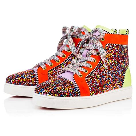christian louboutin louis s strass flat multi suede christianlouboutin shoes