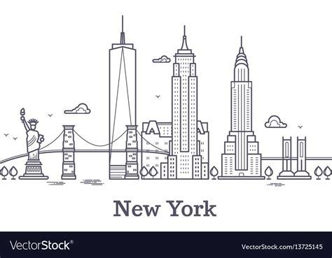 Sosc 1000 York Outline by New York City Outline Skyline Nyc Line Silhouette Vector Image