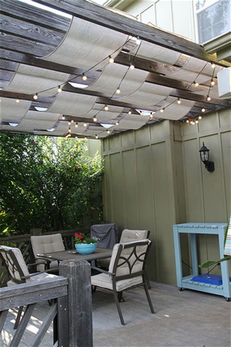 outdoor mesh fabric for pergola remodelaholic top ten outdoor patios for summer and link