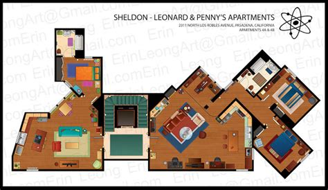 big bang theory floor plan erin leong illustrated floorplans for the big bang theory
