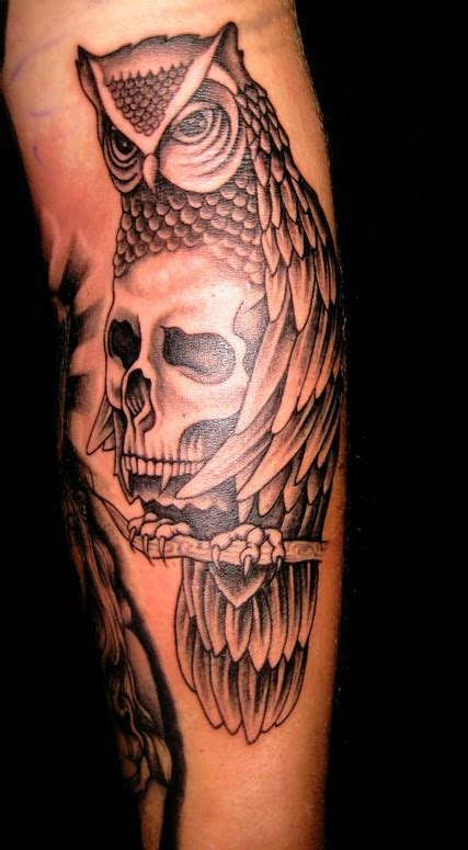 tattoo owl with skull meaning owl and skull tattoo by merry wilson tattoonow