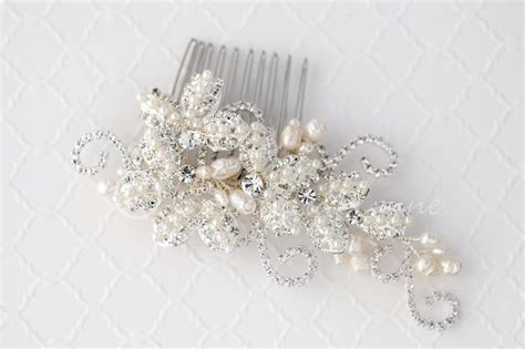 pearl and crystal hair comb vintage inspired pearl rhinestone bridal hair comb
