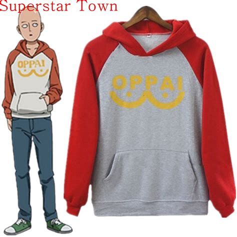 Sweater Hoodie Pullover Oppai one punch saitama oppai hoodie hooded sweatshirt s m l xl size costume big size in