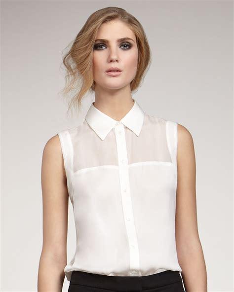 Sleeveless Top Blouse zoe geri sleeveless blouse in white lyst