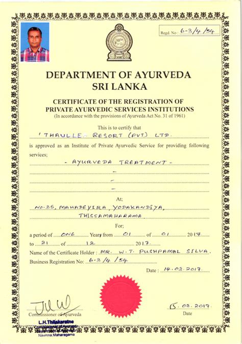 certificate design sri lanka ayurveda treatments in thaulle resort sri lanka
