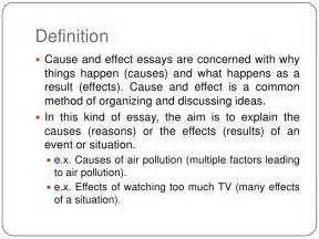 Definition Of Cause And Effect Essay by Cause And Effect Essay