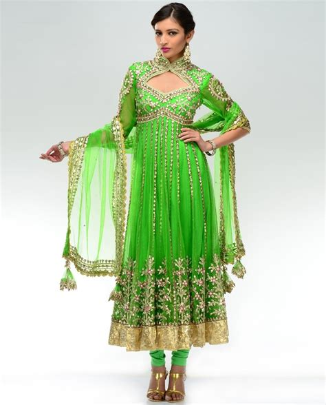 olive green color gown anarkali salwar kameez latest view image neon green anarkali suit by preeti s kapoor my