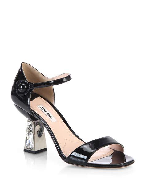 miu miu sandals miu miu patent leather jeweledheel sandals in silver lyst