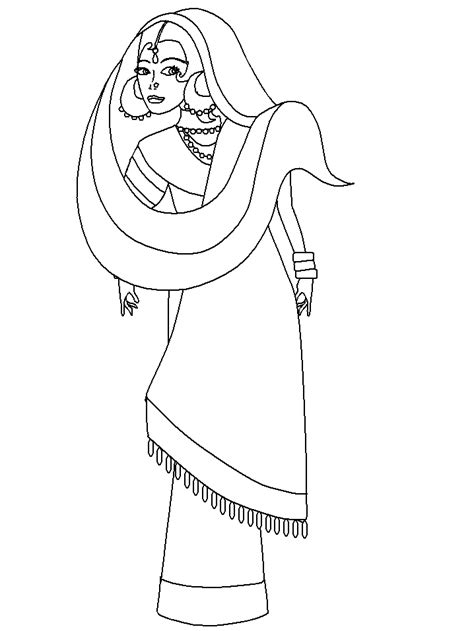 indian dress coloring page printablecolouringpictures some colouring culture pages