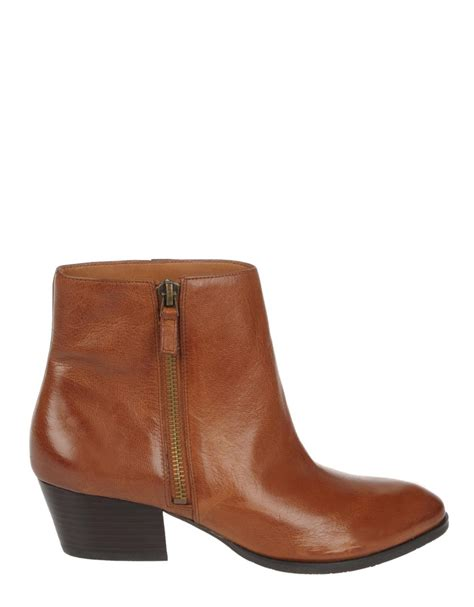 franco sarto leather ankle boots in brown leather lyst