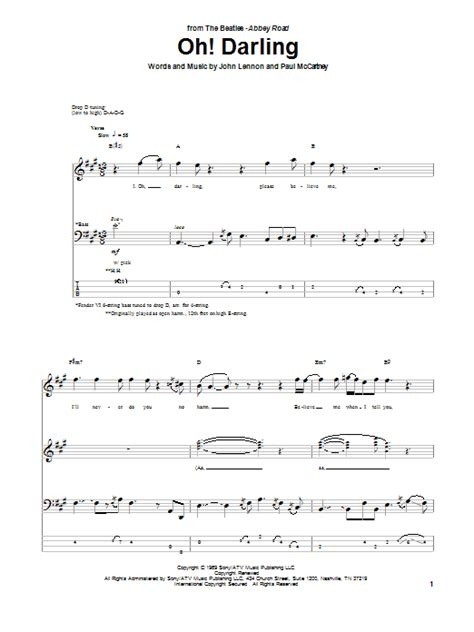 oh darling sheet music by the beatles piano vocal oh darling bass guitar tab by the beatles bass guitar