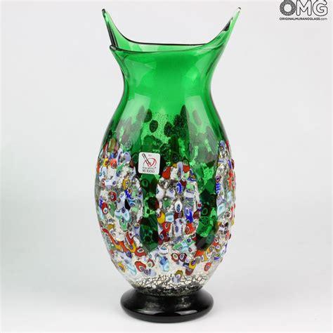 murano millefiori vase orchidea green flowers vase murano glass millefiori