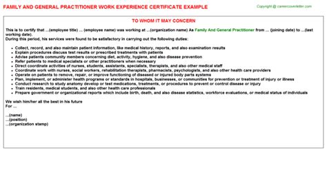 Experience Letter With Description Family And General Practitioner Work Experience Certificate