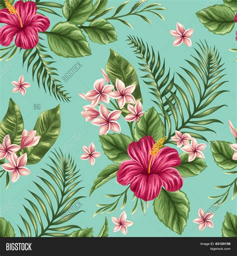 hawaii floral pattern vector tropical floral seamless pattern vector photo bigstock
