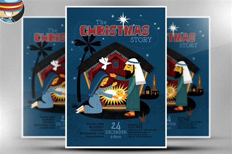 Christmas Nativity Flyer Template Flyer Templates On Creative Market Nativity Flyer Template