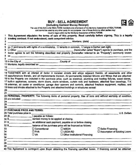 58 Printable Agreement Sles Sle Templates Buy Sell Agreement Template