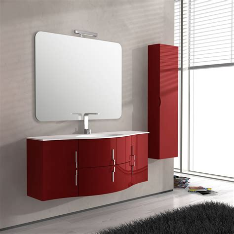 Mobile Bagno Rosso by Mobile Bagno Rosso Sospeso Con Specchio E Colonna Lucido
