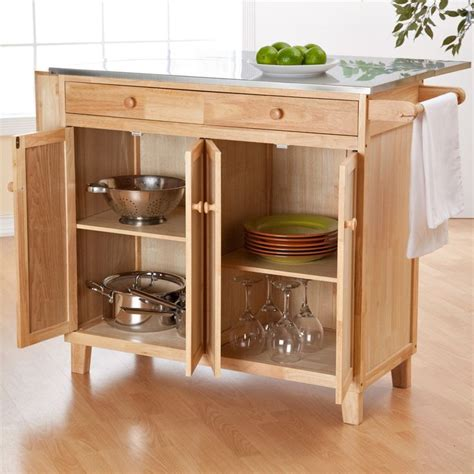 Kitchen Island Counter Height Stainless Steel Top Kitchen Island Counter Height Utility Table In Wood Finish Wood