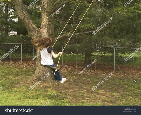 old fashioned swing child swings on old fashioned tree stock photo 312838