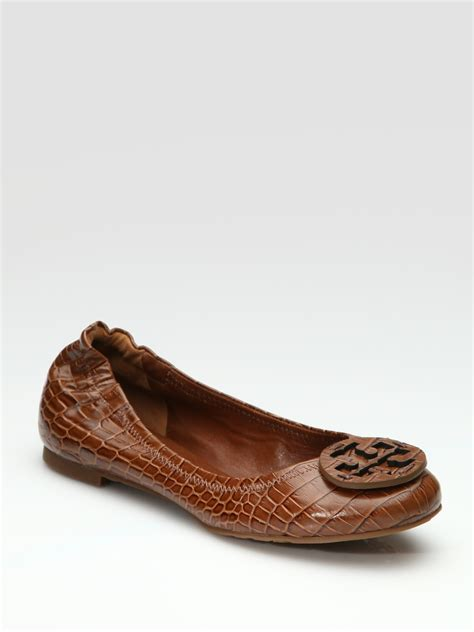 Trend Report Burch Reva Flats Are Going To Be This Second City Style Fashion by Burch Reva Croc Embossed Ballet Flats In Brown