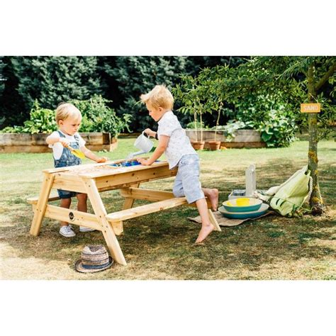 kids wooden picnic bench plum kids wooden picnic table with sand and water buy