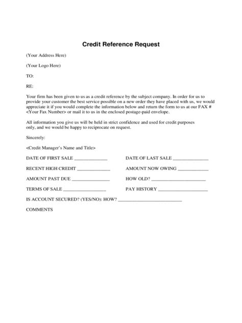 Bank Credit Reference Form Sle credit reference form template free letter for bank format for credit reference sheet template