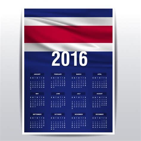 Calendario 2016 Costa Rica Calendario De Costa Rica De 2016 Descargar Vectores Gratis